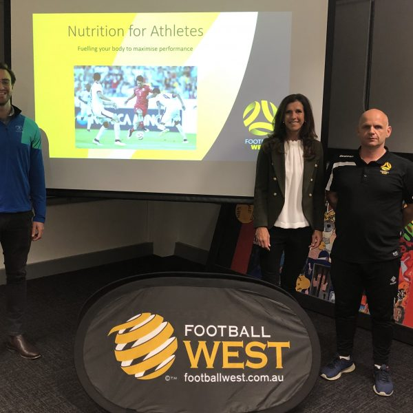 Sharon at the Football West Nutrition for Athletes info night